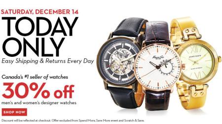 Hudson's Bay One Day Sales - 30 Off Designer Watches (Dec 14)