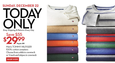 Hudson's Bay One Day Sales - $30 for Tommy Hilfiger Cotton Sweater (Dec 22)