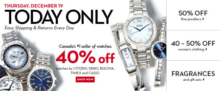Hudson's Bay One Day Sales - 40 Off Watches (Dec 19)