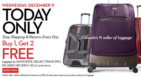 Hudson's Bay One Day Sales - Buy 1, Get 2 FREE Luggage (Dec 11)