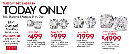 Hudson's Bay One Day Sales - Save up to 75 Off EFFY Diamond Earrings (Dec 10)