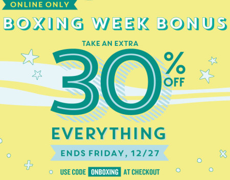 Old Navy Boxing Week Bonus - Extra 30 Off Everything Online Only (Dec 25-27)