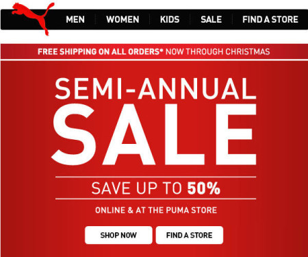 PUMA Semi-Annual Sale - Save up to 50 Off + Free Shipping (Until Dec 26)