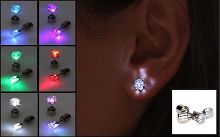 Pair of LED Light Cubic Zirconia Stud Earrings
