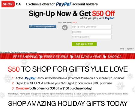 Shop $25 Free Sign-Up Credit + $25 Free PayPal Credit + 10 Ebates Cash Back Offer
