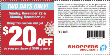 Shoppers Drug Mart $20 Off Coupon on Your Purchase of $100 or more (Dec 22-23)