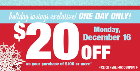 Shoppers Drug Mart $20 Off Your Purchase of $100 or more Coupon (Dec 16)