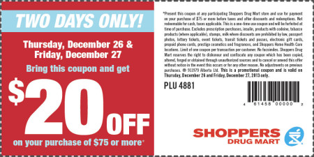 Shoppers Drug Mart Boxing Day Coupon - $20 Off Your Purchase of $75 or more (Dec 26-27)