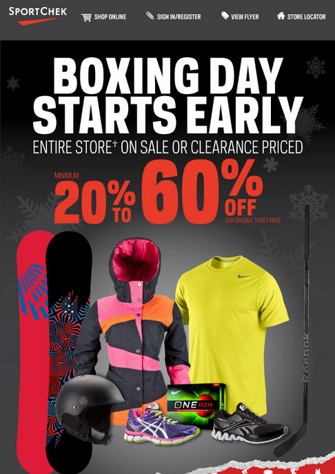 Sport Chek Boxing Day Sale Starts Now - 20-60 Off