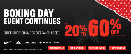 Sport Chek Boxing Week Event Continues - Save 20-60 Off Everything