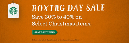 Starbucks Store Boxing Day Sale - 30 to 40 Off select Christmas Items (Dec 26)