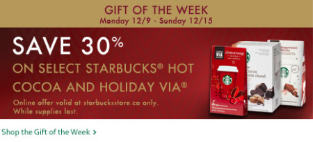StarbucksStore Gift of the Week - 30 Off select Starbucks Hot Cocoa and Holiday Via (Dec 9-15)