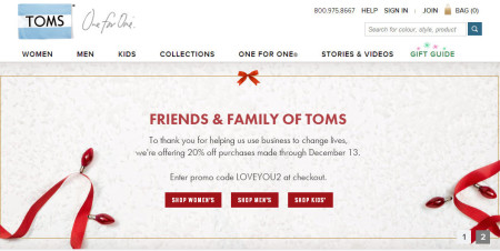 TOMS Shoes Friends & Family Sale - 20 Off Your Purchase + Free Shipping (Dec 10-13)