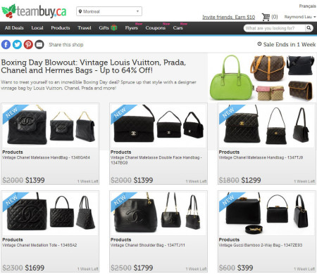 TeamBuy Boxing Day Blowout - Designer Vintage Bags by Louis Vuitton, Prada, Chanel and Hermes (Up to 64 Off)