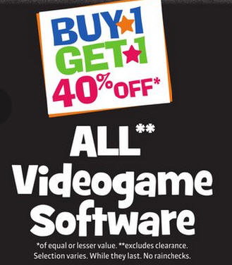 Toys R Us Video Games - Buy One, Get One 40 Off (Until Dec 12)