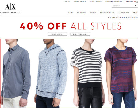Armani Exchange 40 Off All Styles or Extra 40 Off Sale Items (Jan 25-27)