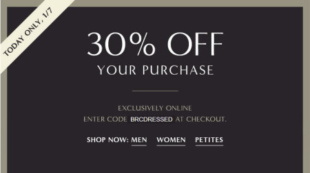 Banana Republic 30 Off Your Purchase + Extra 25 Off Code (Jan 7)