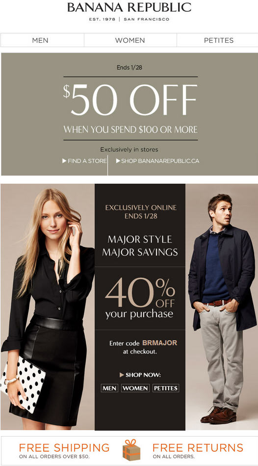 Banana Republic 40 Off Online Purchase or $50 Off $100 In-Store Purchase (Jan 27-28)