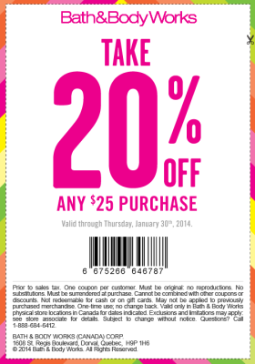 Bath & Body Works Take 20 Off Any 25 Purchase Coupon (Until Jan 30)