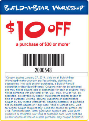 Build-A-Bear Workshop $10 Off Purchase $30 Coupon (Until Jan 27)