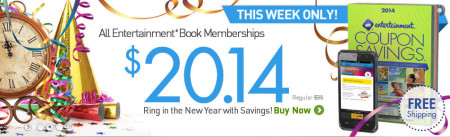 Entertainment Happy New Year Sale - All Coupon Books only $20.14 + Free Shipping (Jan 1-6)