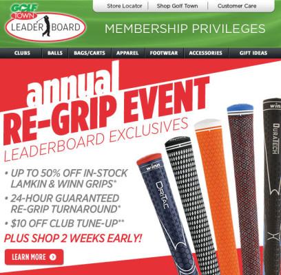 Golf Town Annual Re-Grip Event (Until Feb 28)