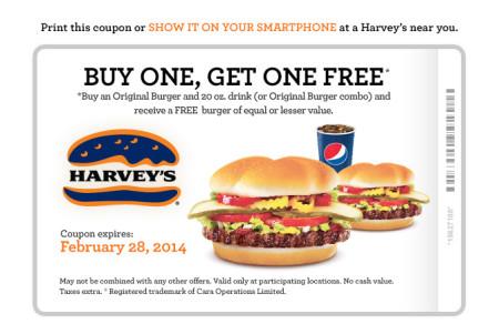 Harvey's Printable Coupons - BOGO, 2 Can Dine, Meal Deal (Until Feb 28)