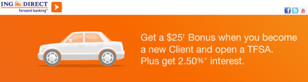 ING Direct Free $25 New Client Bonus + TFSA 25 Interest