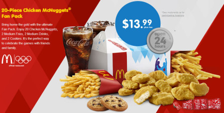McDonald's 20-Piece Chicken McNuggets Fan Pack for $13.99