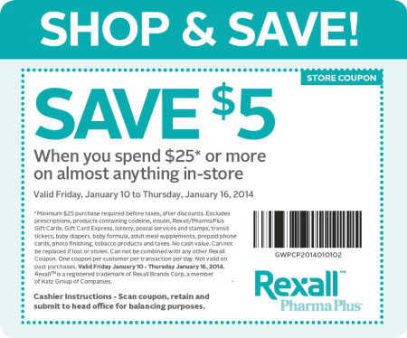 Rexall $5 Off Coupon when you spend $25 (Jan 10-16)