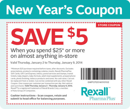 Rexall $5 Off Coupon when you spend $25 (Jan 2-9)