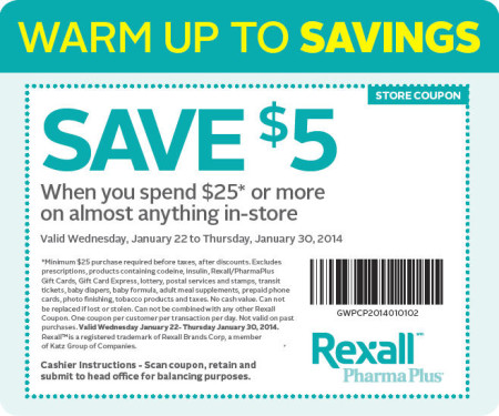 Rexall Pharma Plus $5 Off Coupon when you spend $25 (Jan 22-30)