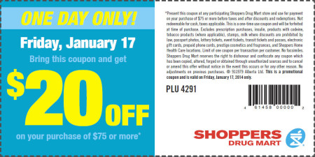 Shoppers Drug Mart $20 Off Purchase of $75 Printable Coupon (Jan 17)