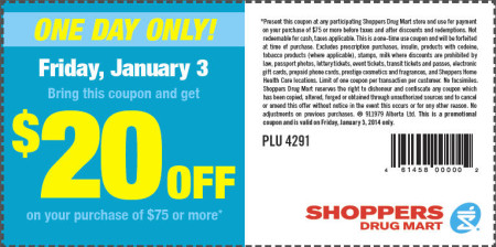 Shoppers Drug Mart $20 Off your Purchase of $75 Coupon (Jan 3)