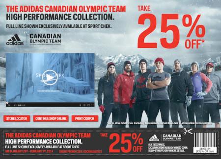 Sport Chek 25 Off Team Canada Olympic Apparel (Until Feb 3)