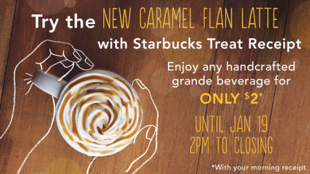 Starbucks Treat Receipt - Get any Grande Beverage for $2 with Morning Receipt (Until Jan 19)