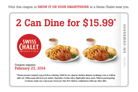 Swiss Chalet 2 Can Dine for $15.99 Coupon (Until Feb 23)