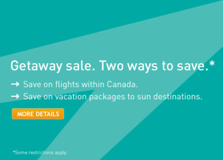 WestJet Getaway Sale - Save on flights within Canada or Vacation Packages to Sun Destinations (Book by Jan 23)