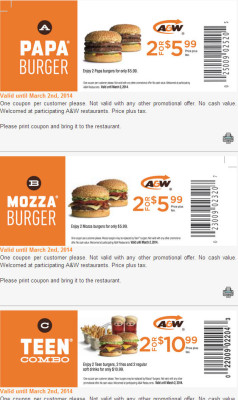 A&W New Printable Coupons (Until Mar 2)