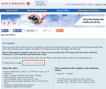 Air Canada Go Canada Save 15 off Tango and Flex fares (Book by Feb 9)