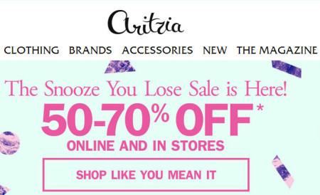 Aritzia The Snooze You Lose Sale - Save 50-70 Off