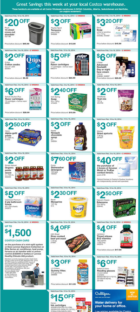 Costco Weekly Handout Instant Savings Coupons West (Feb 10-16)