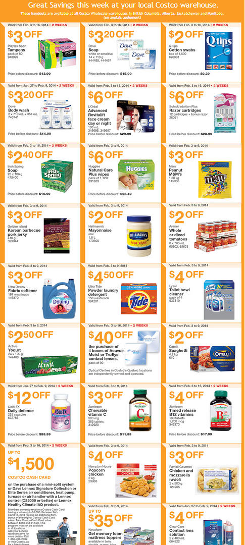 Costco Weekly Handout Instant Savings Coupons West (Feb 3-9)