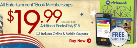 Entertainment All Coupon Books only $20 + Free Shipping (Save up to 60 Off)