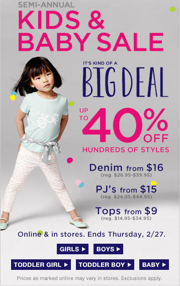 GAP Semi-Annual Kids & Baby Sale - Up to 40 Off Hundreds of Styles (Until Feb 27)