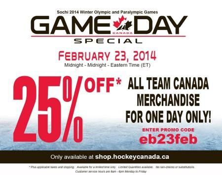 Hockey Canada 25 Off All Team Canada Merchandise (Feb 23)