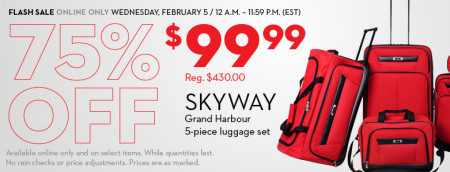 Hudson's Bay Flash Sale - 75 Off Skyway Grand Harbour Luggage Set (Feb 5 Only)