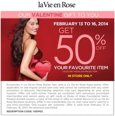 La Vie en Rose 50 Off Your Favourite Item Coupon (Feb 13-16)