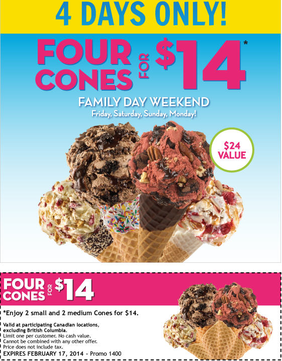Marble Slab Creamery Family Day Weekend - Four Cones for $14 Coupon (Feb 14-17)
