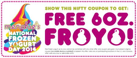 Menchie's Frozen Yogurt Free First 6 oz. Printable Coupon (Feb 6)